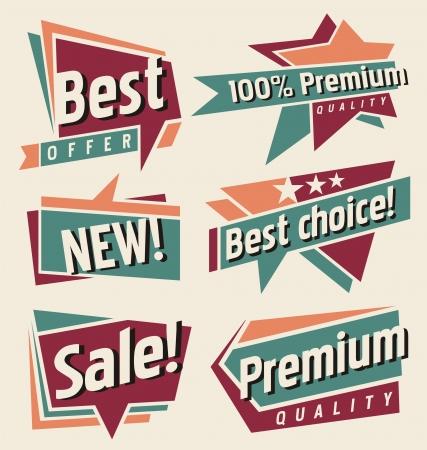 sales promotion: Set of retro promotional labels