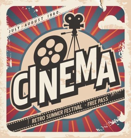 кинематография: Ретро плакат кино постер фильма для летнего фестиваля Винтаж фоне иллюстрации на старой бумаге текстуры Иллюстрация