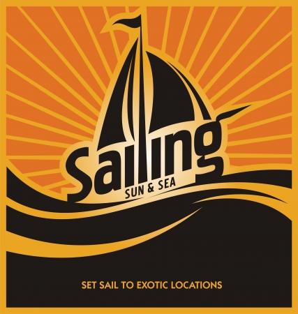 deportes nauticos: Vela plantilla de dise�o de carteles