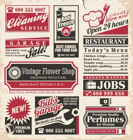 retro vintage: Retro newspaper ads design template collection of vintage advertisements  Old paper texture layout with promotional creative concepts for different business services, restaurants and shops