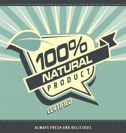 レトロなラベル有機食品ヴィンテージ自然製品ポスター デザイン健康食品と健康的なライフ スタイル創造的な芸術的な概念