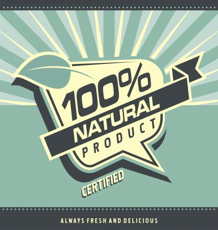 food label: Retro label for organic food   Vintage natural product poster design  Health food and healthy lifestyle creative artistic concept