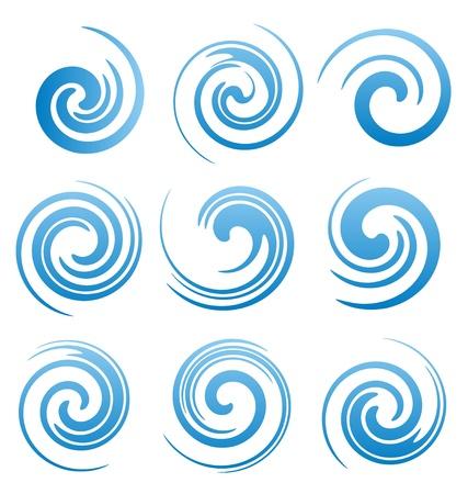 Set van water wervelingen en abstracte golven