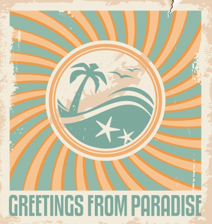 Vintage summer postcard template  Retro  poster design  Travel and vacation background  Vector