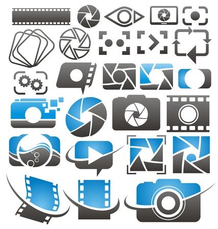 写真とビデオのアイコン、記号、標識の写真カメラのデザイン要素のコレクションのセット