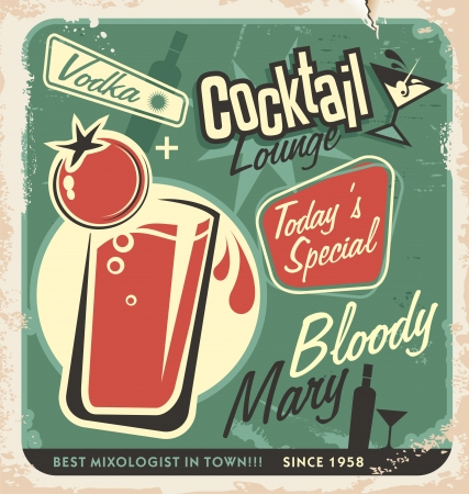 50s: Promotional retro poster design for one of the most popular cocktails Bloody Mary  Vintage cocktail bar design with special daily offer  Food and drink concept on scratched old textured paper