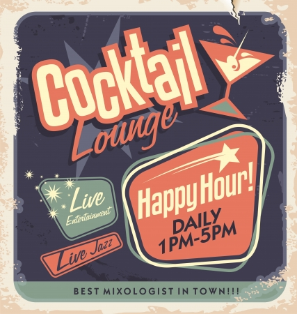 50s: Retro poster design for cocktail lounge  Cocktail party vector concept  Vintage card design on old paper texture for bar or restaurant  Food and drink concept  Illustration