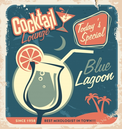 blue lagoon: Promotional retro poster design for one of the most popular cocktails Blue Lagoon  Vintage cocktail bar design with special daily offer  Food and drink concept on scratched old textured paper