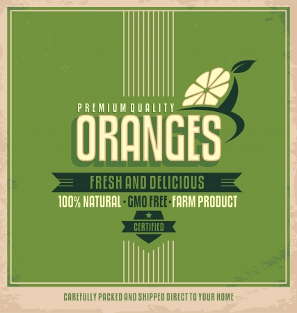 Fresh oranges poster design Vector