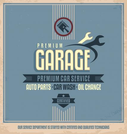 reparation automobile: Service r�tro conception de l'affiche automatique Illustration