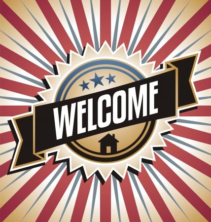 vítejte: Retro pozadí s reklamní sdělení Welcome home vintage plakát