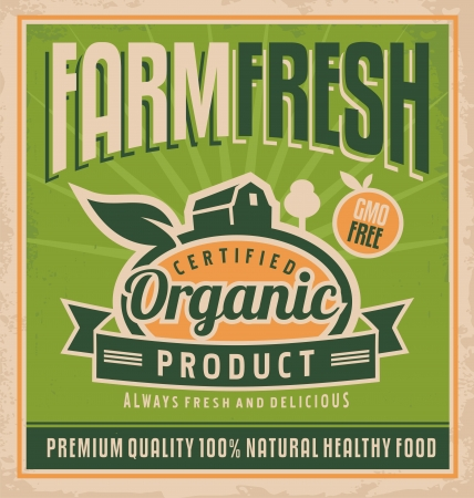 Retro farm fresh food concept Stock Vector - 21419244