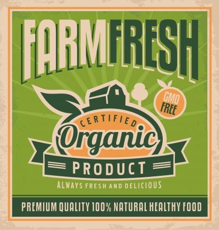 old farm: Retro farm fresh food concept Illustration