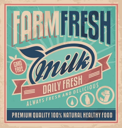 caja de leche: Agr�colas frescos plantilla poster leche Retro