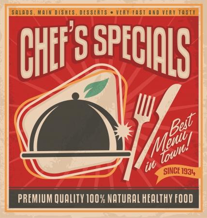 piatto cibo: Modello di poster retr� per miglior ristorante della citt�