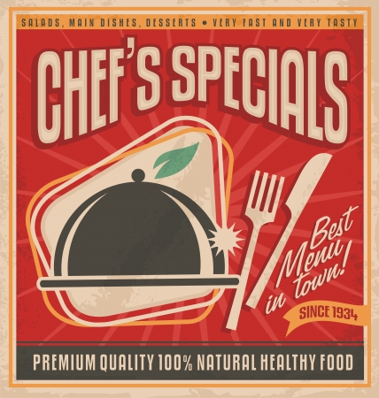 Rétro modèle d'affiche pour le meilleur restaurant en ville Banque d'images - 21419243
