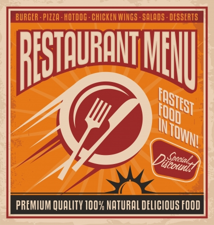 specialities: Retro poster template for fast food restaurant