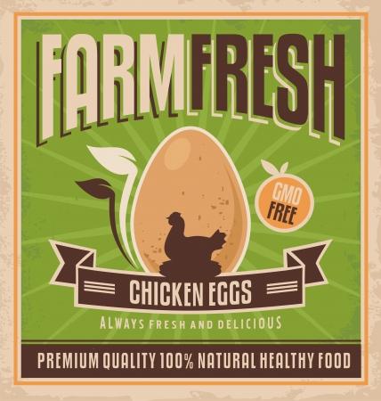 gallina con huevos: Dise�o del cartel retro de la granja de pollo
