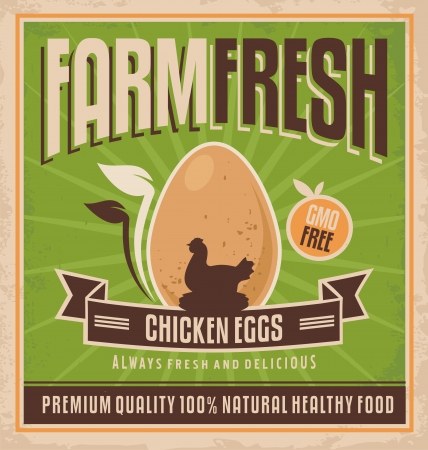 Retro poster design for chicken farm Vector