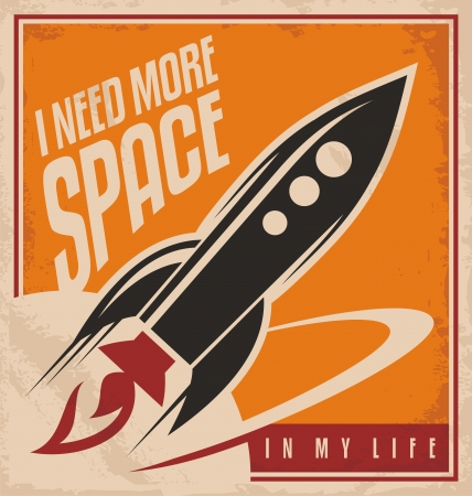Creative design concept with rocket and space Ilustracja