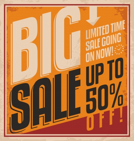 big sale: Big sale retro banner on old paper texture