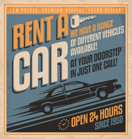 Old fashioned comics style rent a car poster design Vector