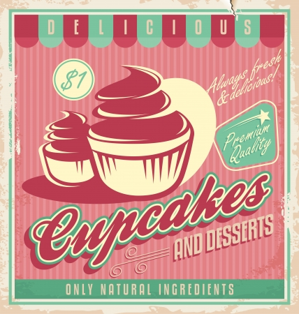 Cupcakes vintage poster design Illustration