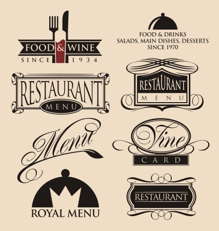 Vintage set of restaurant signs, symbols and icons Illustration