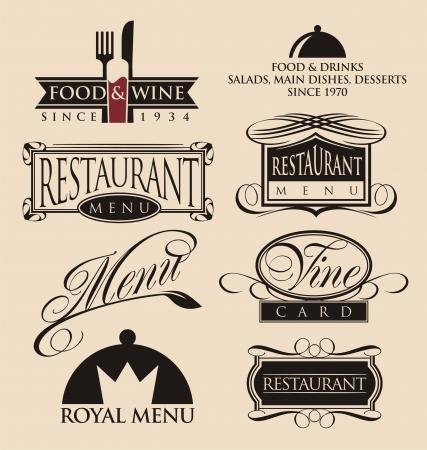restaurant icons: Vintage set of restaurant signs, symbols and icons Illustration