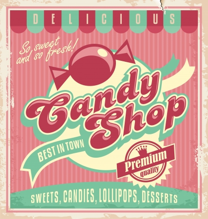 candy shop: Vintage poster template for candy shop