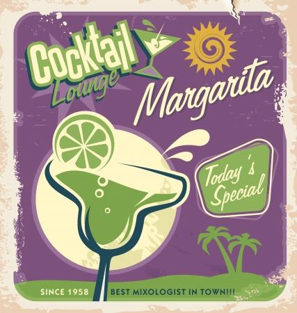가장 인기있는 칵테일 중 하나 마가리타에 대한 프로모션 복고풍 포스터 디자인