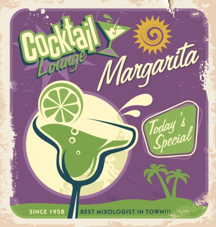 Promotional retro poster design for one of the most popular cocktails Margarita Vector