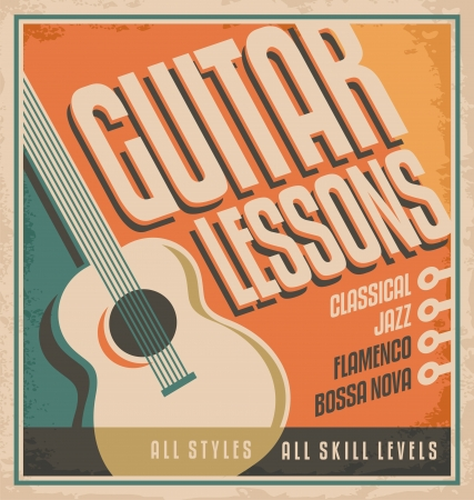 guitar: Vintage poster design for guitar lessons Illustration