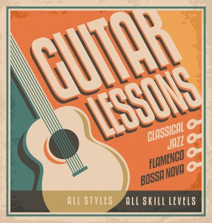 Vintage poster ontwerp voor gitaarlessen