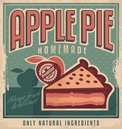 pastel de manzana: Tarta de manzana de la vendimia concepto de dise�o de carteles