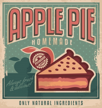tourtes: Tarte aux pommes cru concept de conception de l'affiche Illustration