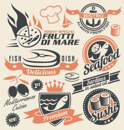 sardines: Set of seafood icons, symbols and signs
