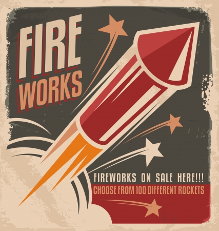 Vintage fireworks poster design Illustration