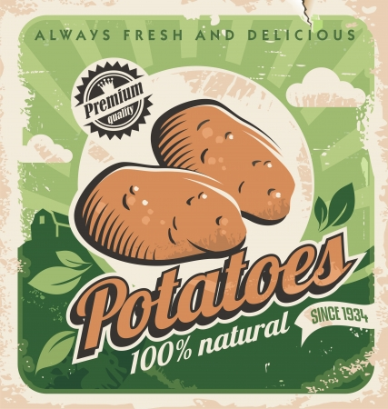 fields: Vintage poster template for potato farm Illustration