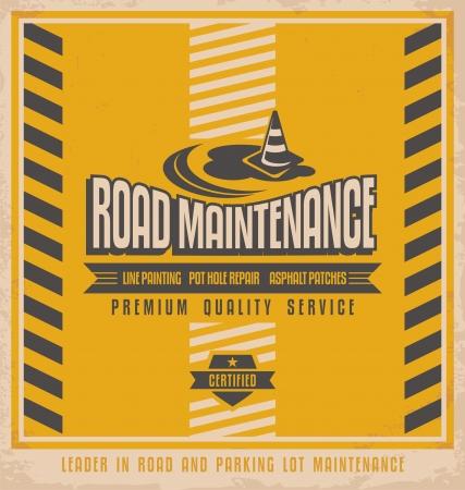 Road construction vintage poster design concept Illustration