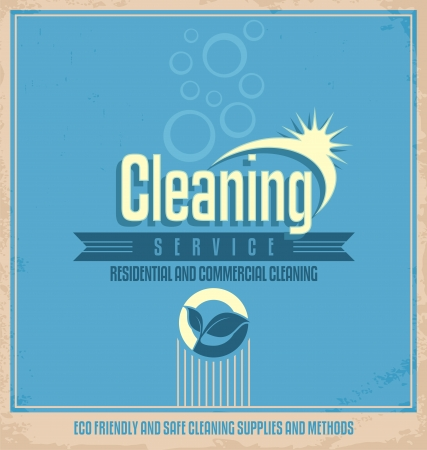cleaning: Vintage poster design for cleaning service Illustration