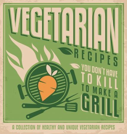 Vegetarian food vintage poster design concept