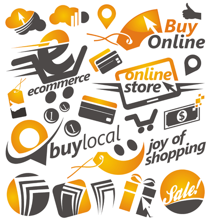 Set of shopping icons, signs and symbols Vector