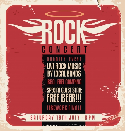 Rock concert retro poster design Vector