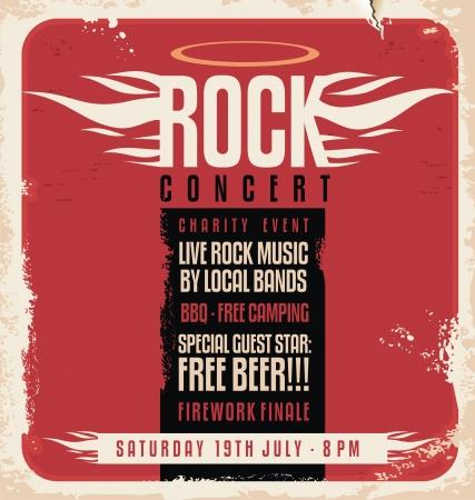 Rock concert retro poster design Ilustracja