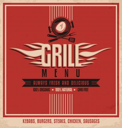 bares: Modelo de design de menu Grill retro voador