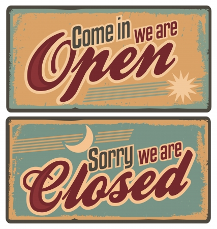 closed door: Retro metal signs set for store or shop