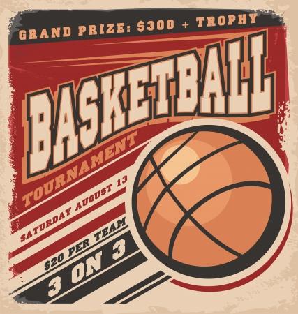 competitions: Dise�o retro del cartel de baloncesto Vectores