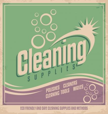 casa vecchia: Poster design Vintage per il servizio di pulizia