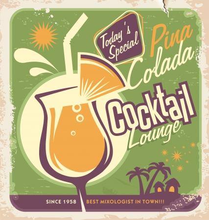 가장 인기있는 칵테일 중 하나 피나 콜라다를위한 프로모션 복고풍 포스터 디자인 일러스트
